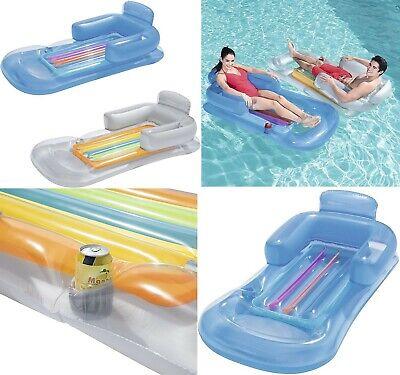 Sillón colchoneta hinchable piscina 161x84 cm,reposabrazos,respaldo,hueco latas