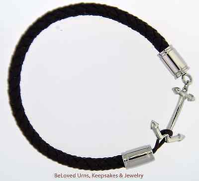 Braided Brown Leather Bracelet With Anchor Urn Cremation Jewelry With Funnel
