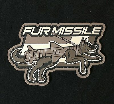 FUR MISSLE 3D RUBBER PVC K9 DOG MORALE BADGE SWAT VELCRO® BRAND PATCH