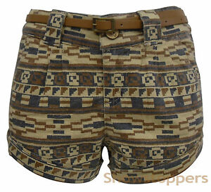 Womens-SHORTS-PRINT-LINEN-Shorts-jeans-Ladies-Vintage-HOT-PANTS-Size-8-10-12-14