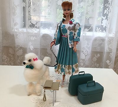 OOAK Vintage Barbie Silkstone Doll Poodle ~ Dog  Fashion Purse, Suit Case Bone