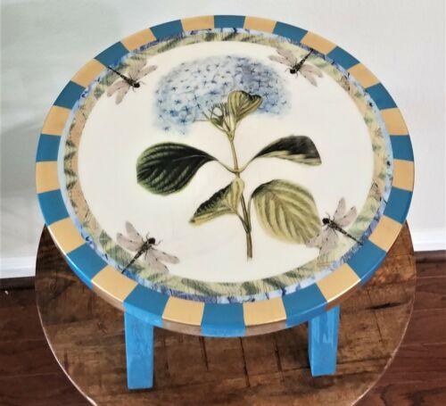 Annie Modica Hydrangea Flower Round Foot Stepping Stool Wood Art Home - NEW !!!