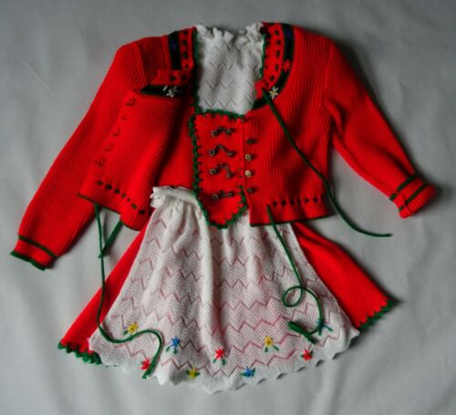 Girls German Austrian Authentic  Knitted Dirndl Dress + Jacket 5 years
