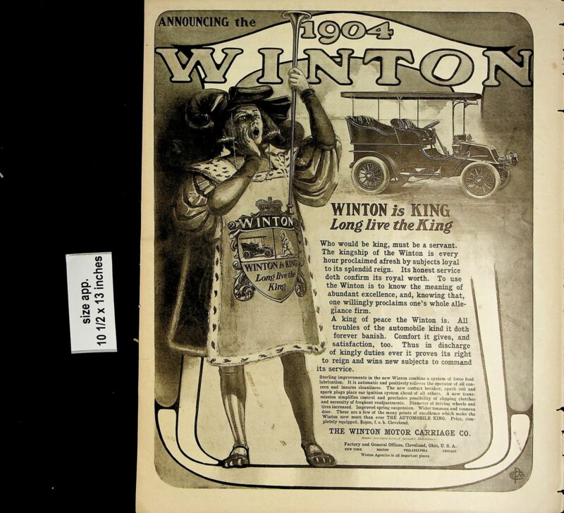 1904 Winton is King Motor Carriage Car Automobile Vintage Print Ad 5087