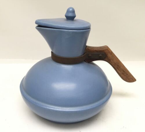 Vintage Padre California Pottery Matte Blue Covered Carafe Coffee Pot Server