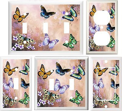 - BEAUTIFUL BUTTERFLY FLORAL HOME DECOR LIGHT SWITCH PLATE COVER OR OUTLET V661