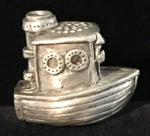 Vintage Collectible Gallo PewterTug Boat Thimble signed SDK © 84