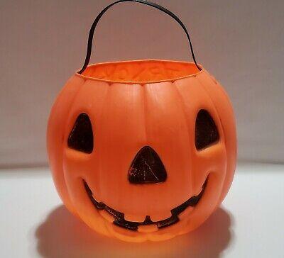 Vintage AJ Renzi Pumpkin Blow Mold 3D Trick-Or-Treat Cat Pail Bucket #1100