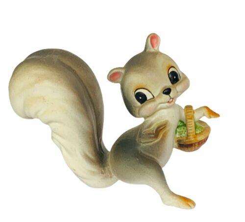 Squirrel figurine antique anthropomorphic chipmunk smile vtg basket bisque mcm