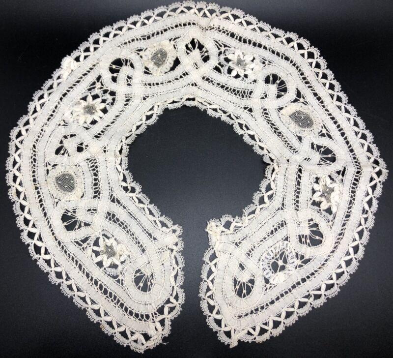 Vintage Victorian Era Handmade Ladies Ivory Battenberg Lace Collar (RF979)