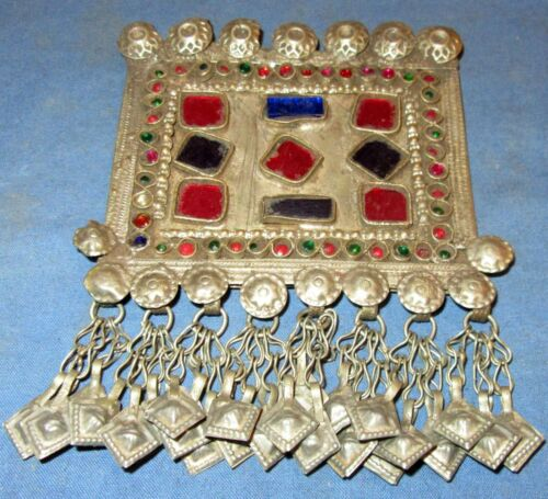 "Pendant Gemstones Afghan Kuchi Tribal Alpaca Silver 3"" x 4"""