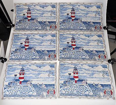 6 Portland Oregon Lighthouse Tapestry Woven Placemats Sea Sailboat Ocean Nautica