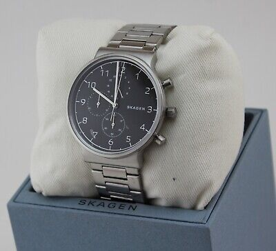 NEW AUTHENTIC SKAGEN ANCHER SILVER CHRONOGRAPH BLACK MEN'S SKW6360 WATCH