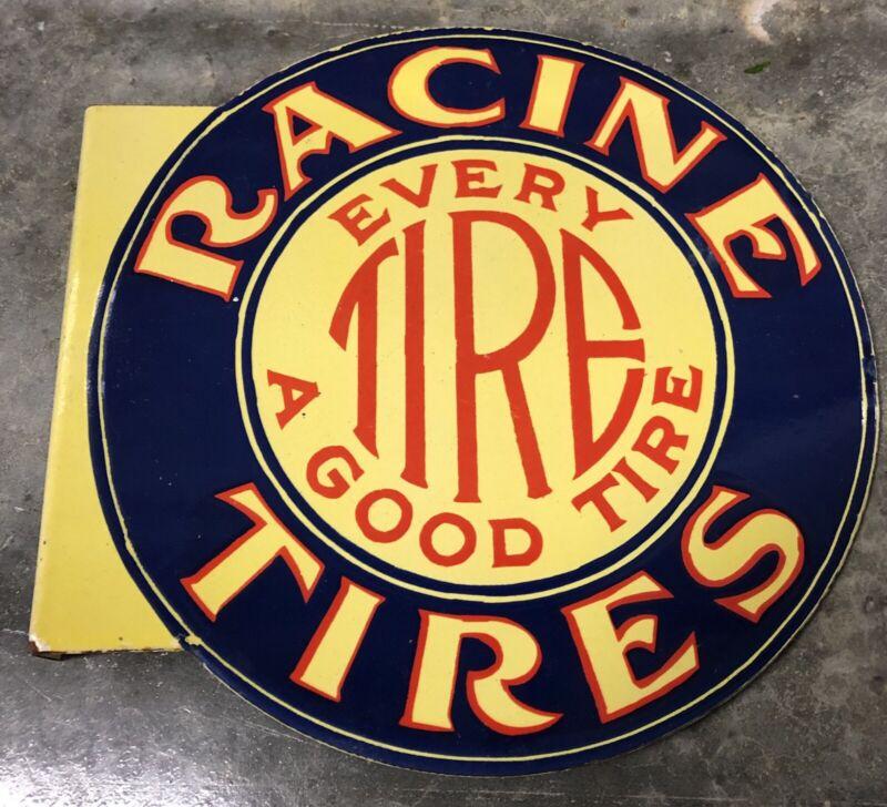 """VINTAGE RACINE TIRES FLANGE DOUBLE SIDED 14.5"""" PORCELAIN GAS OIL SIGN!"""