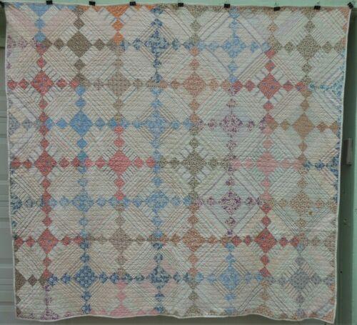 Very Nice Clean Antique Flour Sack Pieced Patchwork Quilt, Hand Stitched
