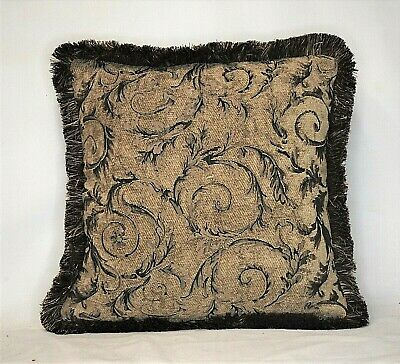beige black chenille gold leaf floral decorative throw pillow for sofa Black Floral Throw Pillow