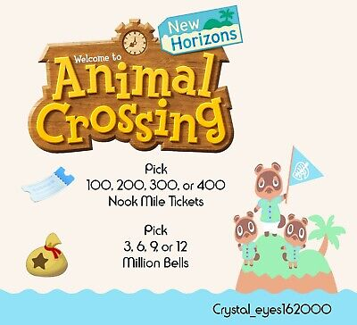 Animal Crossing New Horizons Bells & Nook Mile Tickets 12pm - 10pm