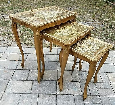 Antique vintage Gold Florentine Tole Italy 3pc Wood Nesting stacking Tables