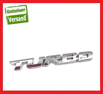 TURBO 3D Metall Emblem Aufkleber Sticker Badge Auto Car Rot silber chrom