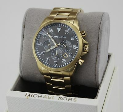 NEW AUTHENTIC MICHAEL KORS GAGE GOLD BLACK CHRONOGRAPH MEN'S MK8361 WATCH