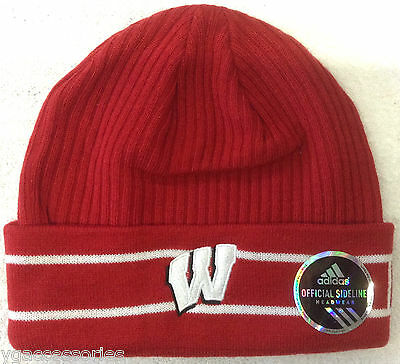fe494673289 NCAA Wisconsin Badgers Adidas Cuffed Winter Knit Hat Cap Beanie NEW!