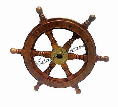 "Schiff Wheel Pirate Captain 12 ""Messing Holz Lenkrad Collectible Home Dekor gebraucht kaufen  Versand nach Germany"