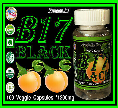 Prodalin Inc Vitamin B17 Black Edition 1200mg Per Dose Absorbing Apricot Kernels