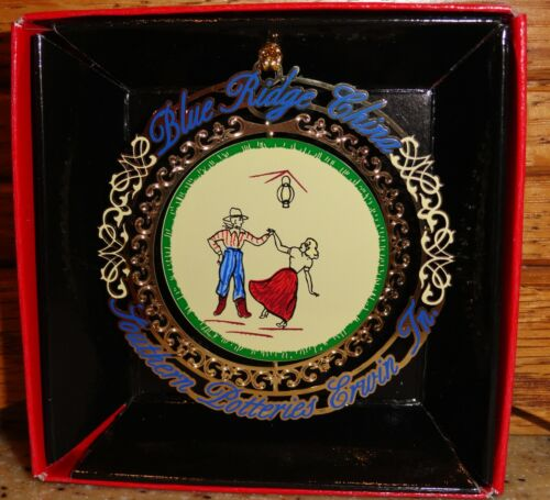 Blue Ridge Pottery Square Dancers w/Red Christmas Ornament New/Unopened