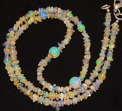 "Rainbow Flashing Fire Ethiopian Opal Gem Uncut & Round Ball Beads Necklace 20"""