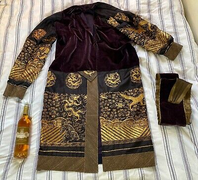 ANTIQUE CHINESE SILK, GOLD THREAD & VELVET TEXTILE EMBROIDERY DRAGON ROBE QING