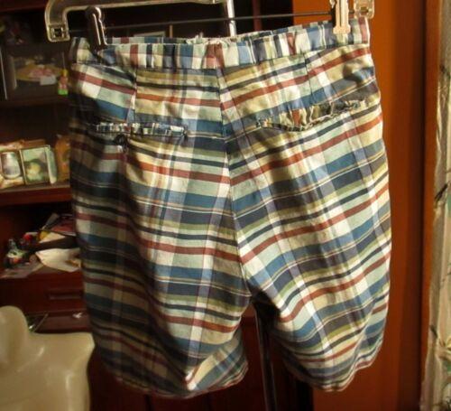 """26"""" 26W BOYS GIRLS Vtg 60s PLAID CAMPUS PLAID COTTON IVY LEAGUE Shorts"""