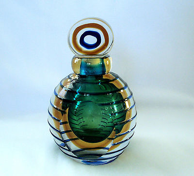 Large Clear Art Glass Perfume Bottle with Green Center & Raised Blue Lines