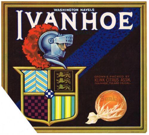 ORIGINAL 1930S ORANGE CRATE LABEL VINTAGE TULARE COUNTY IVANHOE KNIGHT KLINK