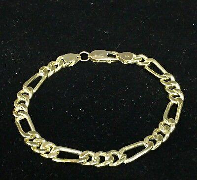 "10k Solid Yellow Gold Handmade Figaro Curb link mens bracelet 8"" 18 Grams 7 MM 9"