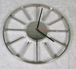Umbra Compass Clock Matt Carr Design Cast Metal Nickle Plate 13 inch Diameter