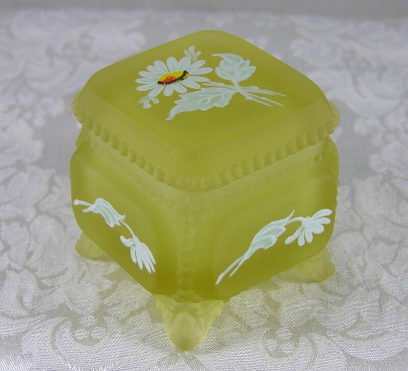 Westmoreland Glass beaded edge yellow mist Victorian Trinket Box daisy decals