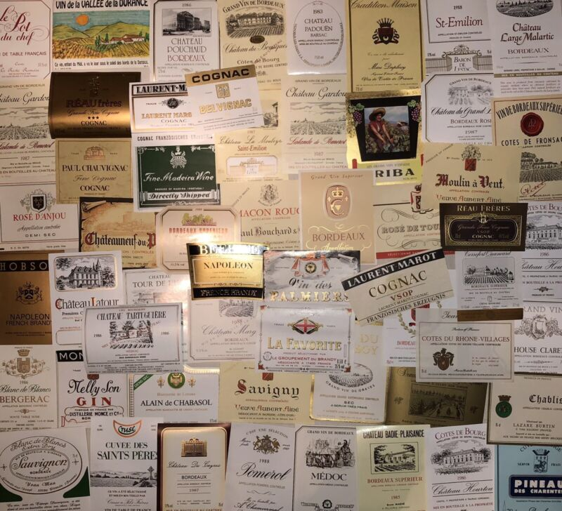 Vintage French Wine Labels Lot Of 110 Group D