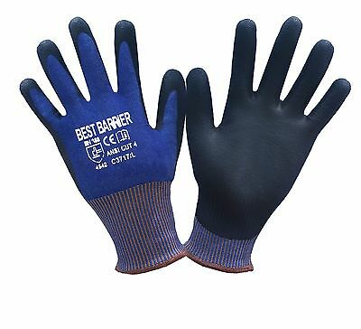 Ce Cut Resistant Level 5 Ansi Cut Level 4 Black Pu Palm Coated Gloves 1 Pair