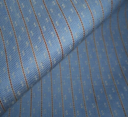 Antique French  Smaller Scale Pilou Cotton Fabric ~ Blue Brown Ticking Stripe