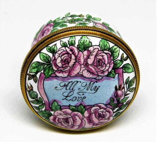 STAFFORDSHIRE ENGLISH ENAMEL BOX - ALL MY LOVE - ROSES & RIBBONS - ANNIVERSARY