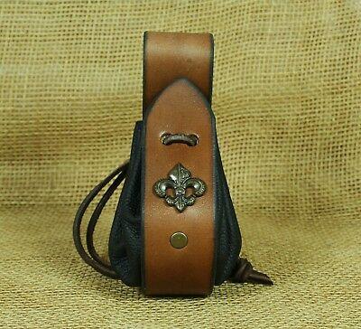 Medieval Leather Bag Coins Bag Fleur de Lis Decorative Rivet Leather Brown Pouch
