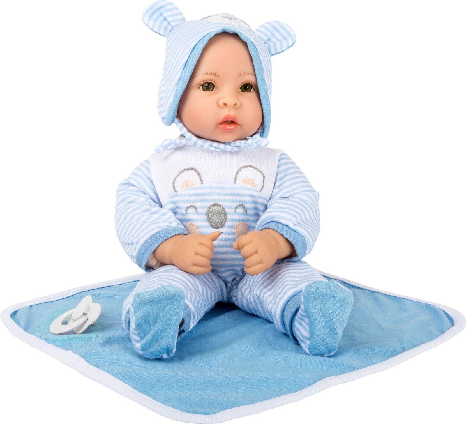 Puppe Lukas Babypuppe Junge Kinderpuppe Spielzeugpuppe mit Zubehör für Kinder