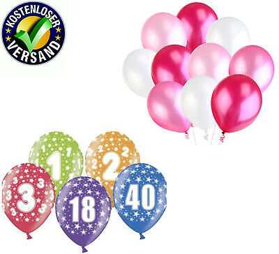 40 Geburtstag Ballons (Luftballons bunt Zahl 1 2 4 5 6 7 18  30 40 50 60 80 Party Geburtstag latex neu)