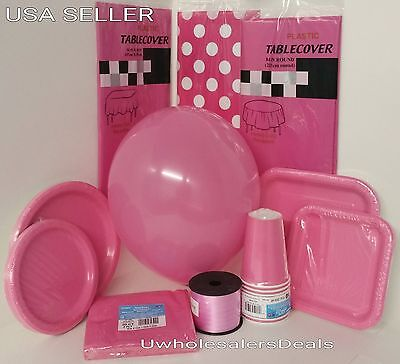 Dark Pink Party Paper Plates Napkins Cup Cutlery Table Covers Balloons Tableware (Pink Party Cups)