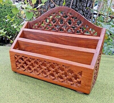 LOVELY THREE-SECTION DESK TOP LETTER/STATIONERY RACK~FRETWORK CARVING