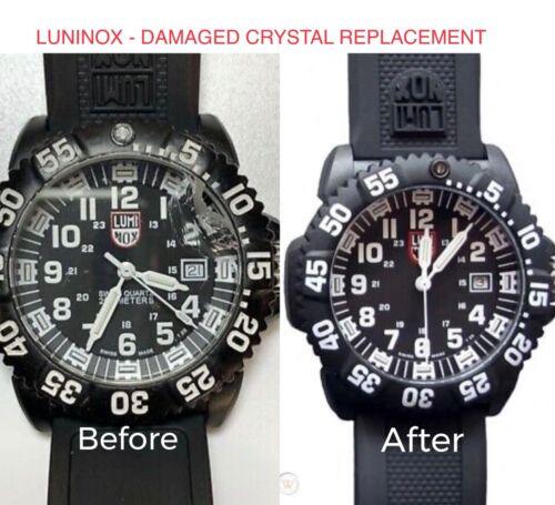 LUMINOX WATCH BROKEN CRACKED GLASS CRYSTAL REPLACEMENT REPAIR SERVICE