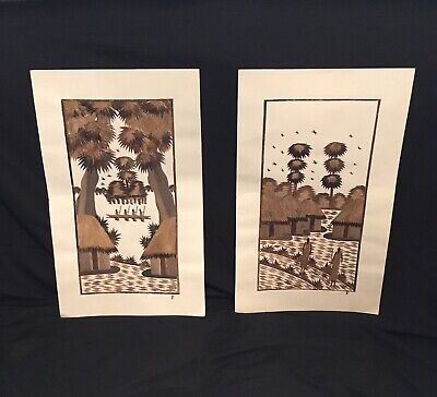 Vintage Set of (2) Wood Bark Dried Reeds Hand-Made Pictures Polynesian? Villages