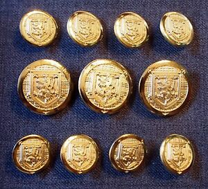 High Quality Gold Blazer Buttons For Suit, Blazer, or Sport Coat - Metal Shank