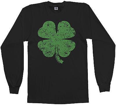 Clover Green T-shirt (Threadrock Men's Distressed Green Four Leaf Clover Long Sleeve T-shirt Irish)