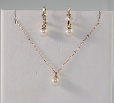 14k Yellow Gold 6mm Akoya  Cultured Pearl Earring & Necklace Jewelry Set  Akoya Gold Jewelry Set